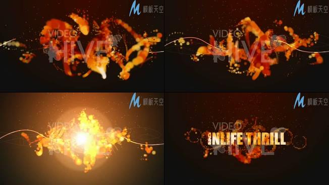 火红色粒子片头logo视频模板