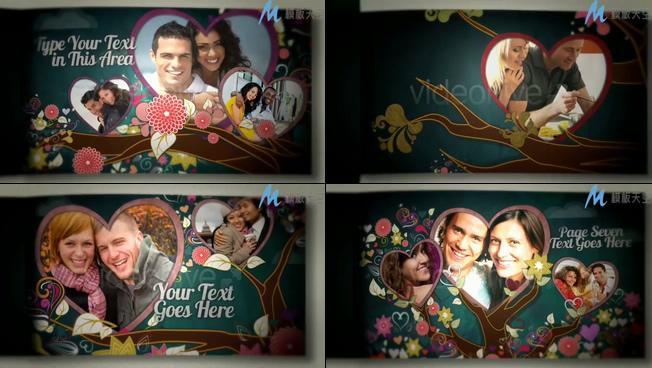 爱情树之情侣相册AE模板