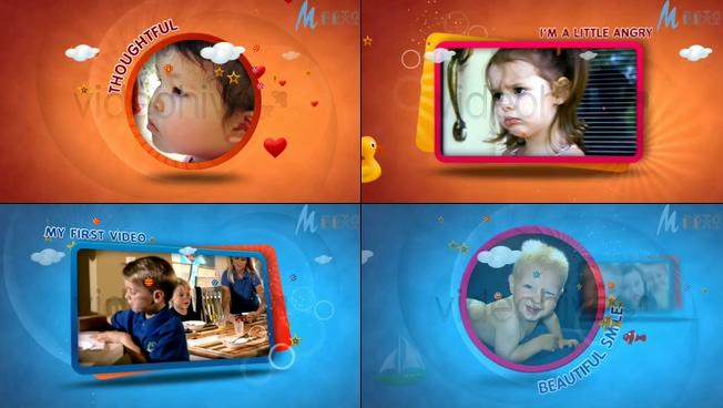 可爱宝宝的儿童卡通记录相册AE模板