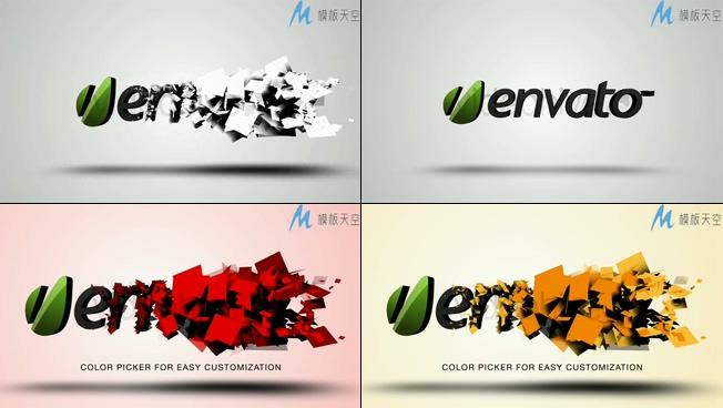 创意片尾结束logo展示AE模板