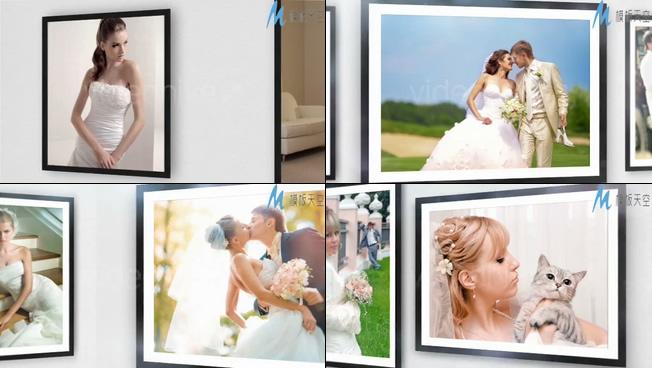 婚纱照相册婚礼画廊照片展示AE模板