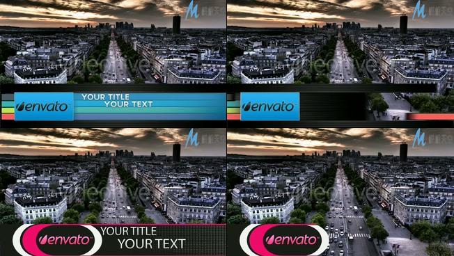 屏幕下方从两边往中间展示的动态字幕条AE模板