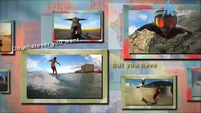 震撼的极限运动照片展示视频ae模板