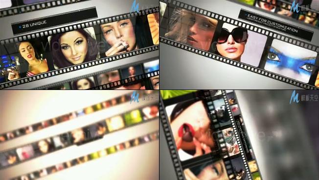时尚电影胶带展示照片墙ae模板