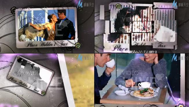 浪漫的雨中照片展示墙ae模板