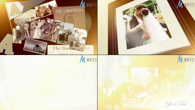 温馨家庭照片墙记录相册回忆视频AE模板