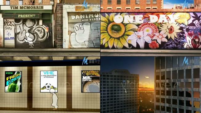 视频记录的一天生活创意涂鸦墙卡通人物AE模板