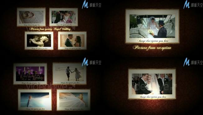 浪漫皇室婚礼照片墙展示视频ae模板