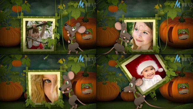 动画背景儿童照片墙展示视频ae模板