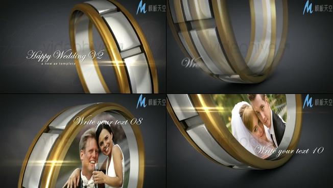 以戒指为背景的浪漫婚纱照视频ae模板