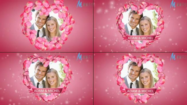 心形花瓣的婚礼开场视频ae模板