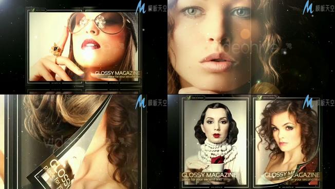 时尚美女杂志写真视频ae模板
