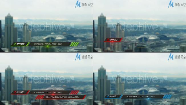 从屏幕左右两边交替出现字幕的视频ae模板