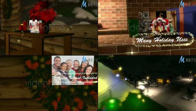 创意圣诞节照片展示视频ae模板