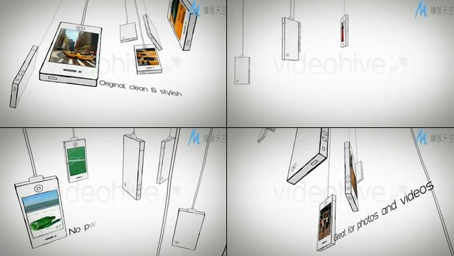 手机模型宣传照片墙的视频ae模板