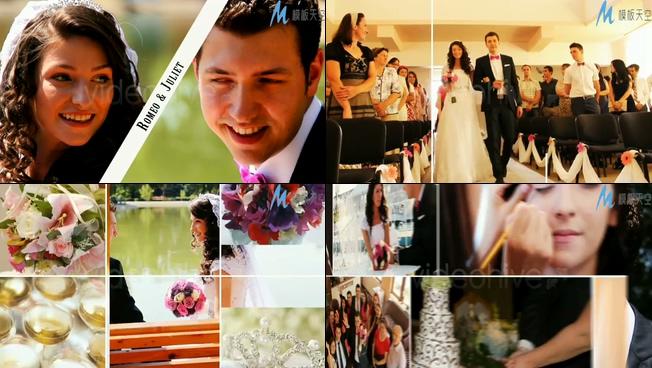 浪漫唯美的婚纱照片墙视频ae模板