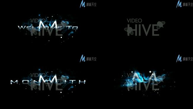 淡蓝色水墨画显示logo的视频ae模板