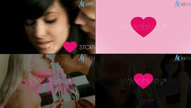 浪漫唯美的心形情侣照片照片视频ae模板