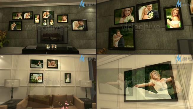 浪漫唯美的婚纱照片墙ae模板