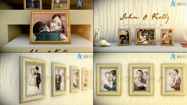 浪漫唯美的照片墙展示ae模板