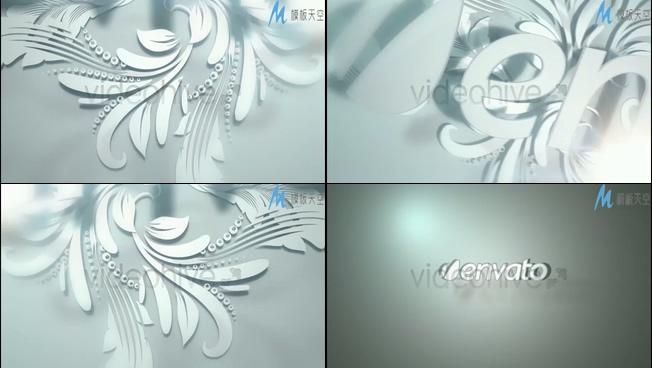 浪漫唯美的白色花卉显示出logo的ae模板