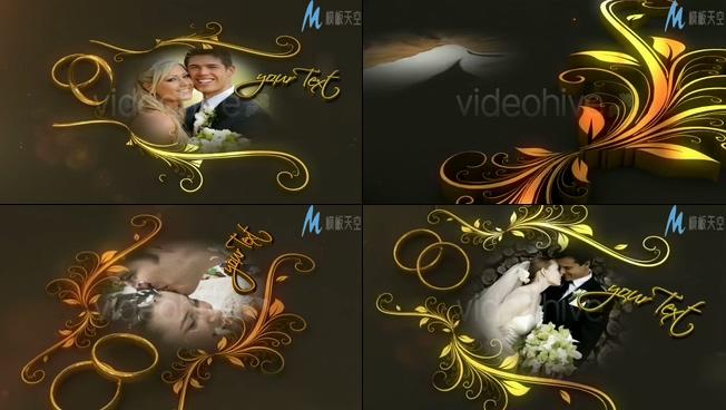 浪漫的结婚钻戒婚纱照片展示ae模板