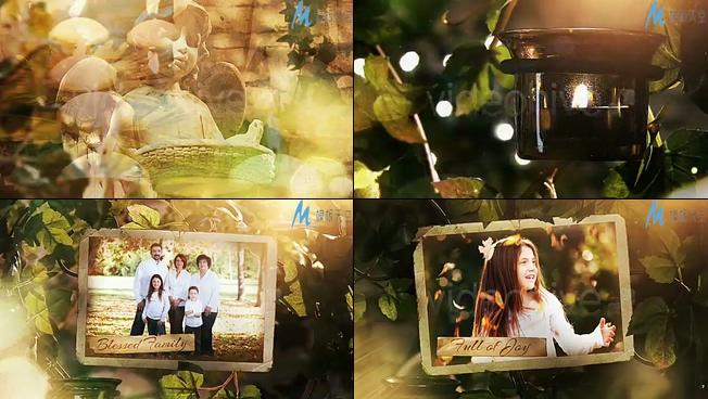 秘密花园照片库之幸福家庭生活记录相册AE模板