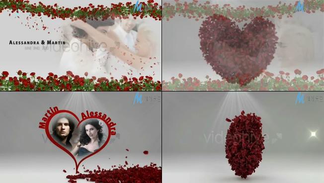 浪漫甜蜜的心形婚礼开场ae模板