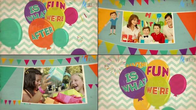 节奏欢快的生日派对照片展示ae模板