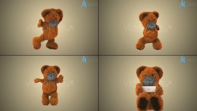 可爱卡通小熊跳舞视频素材ae模板