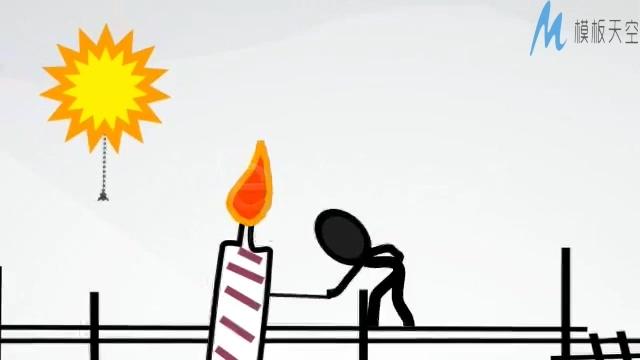 创意纸片人点燃生日蜡烛的ae模板