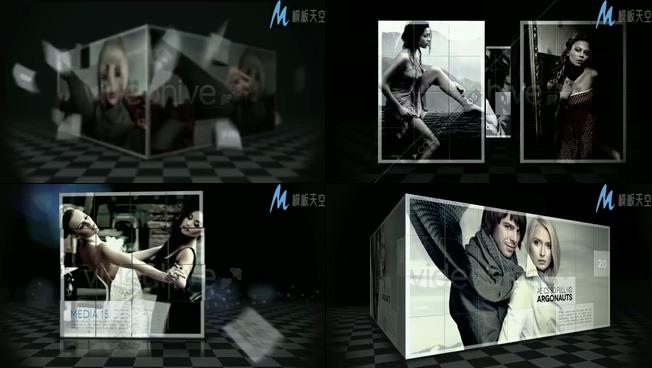 时尚动感的立方体照片展示ae模板