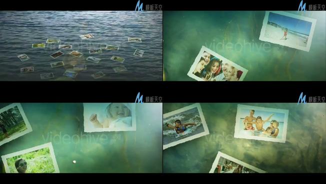 唯美梦幻的水中照片展示ae模板