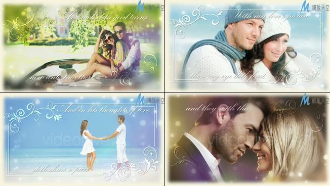 浪漫唯美的爱情照片展示ae模板