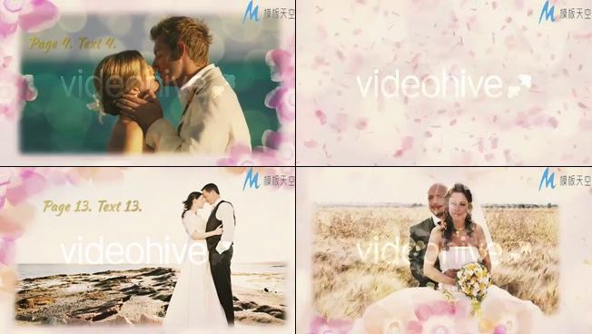 唯美梦幻的花朵环绕的婚纱照片展示ae模板