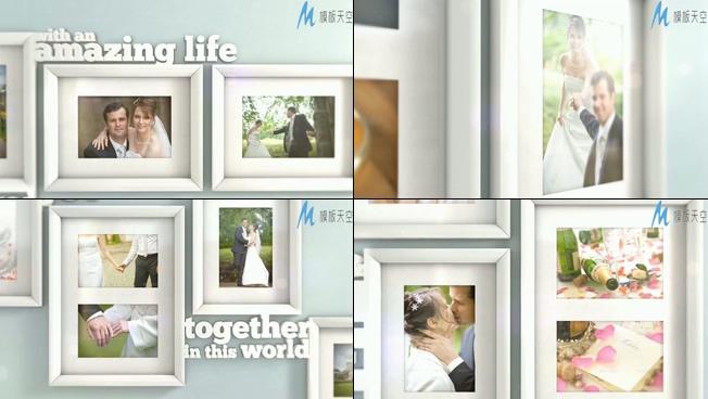 唯美梦幻的婚纱照片墙展示ae模板