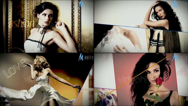 时尚性感的模特杂志照片展示ae模板