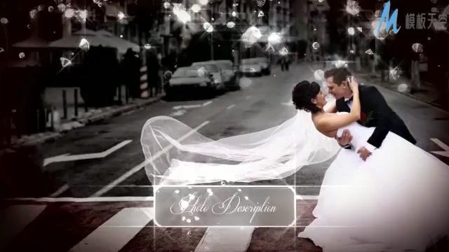 闪耀心形钻石的婚纱照展示ae模板
