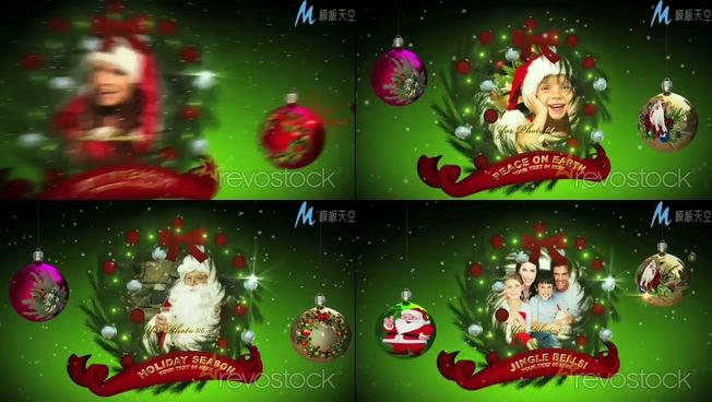 喜庆梦幻的圣诞节家庭照片展示ae模板