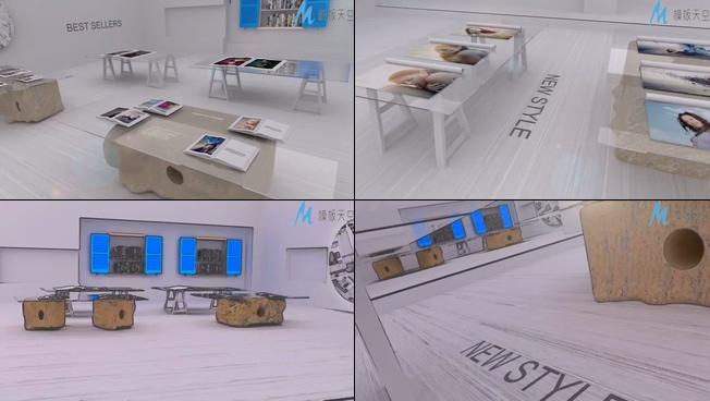 时尚透明桌面的照片展示ae模板