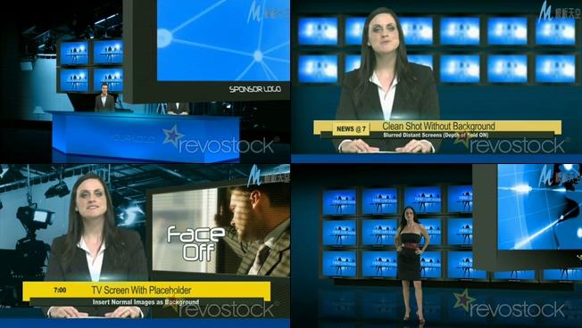 虚拟的演播室多屏幕显示ae模板