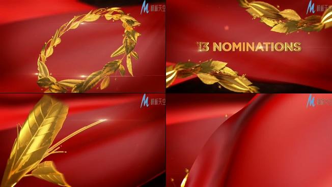 震撼大气的金色树叶电影颁奖现场ae模板