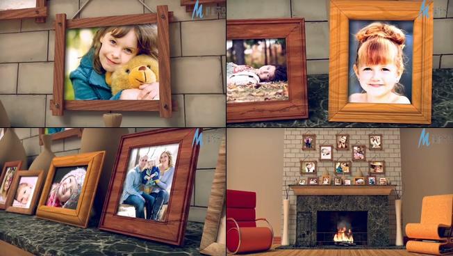 甜蜜温馨的壁炉家庭照片展示ae模板