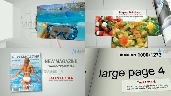 时尚的杂志美景照片展示ae模板