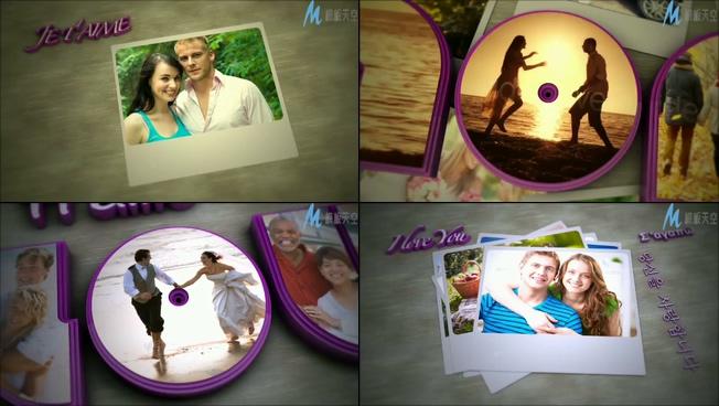 时尚彩色字母拼成爱情相册的ae模板