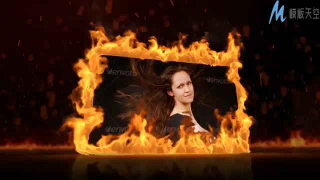 火焰燃烧的时尚照片ae模板