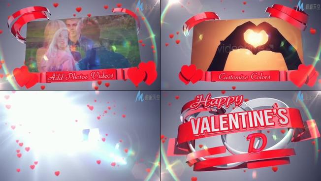 浪漫唯美的红色爱心情侣相册ae模板