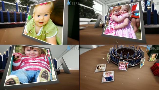 可爱儿童时尚相册围绕生日蛋糕展示的ae模板