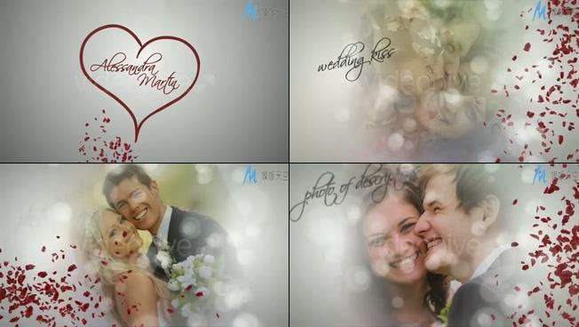 浪漫唯美的爱心花瓣散落的婚礼相册ae模板