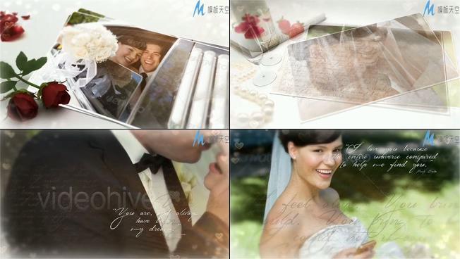 唯美梦幻的特效婚礼爱情相册ae模板